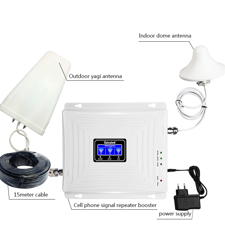 Home Signal Repeater 0.1W 900 1800 2100mhz Gsm Tribande 2g 3g 4g Kw20c-gdw 65db Cellular Phone Booster
