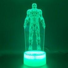 3d Night Lamp Marvel Iron Man Figure Home Decoration Bright Base Touch Sensor Cool Baby Kids Child LED Light Ironman