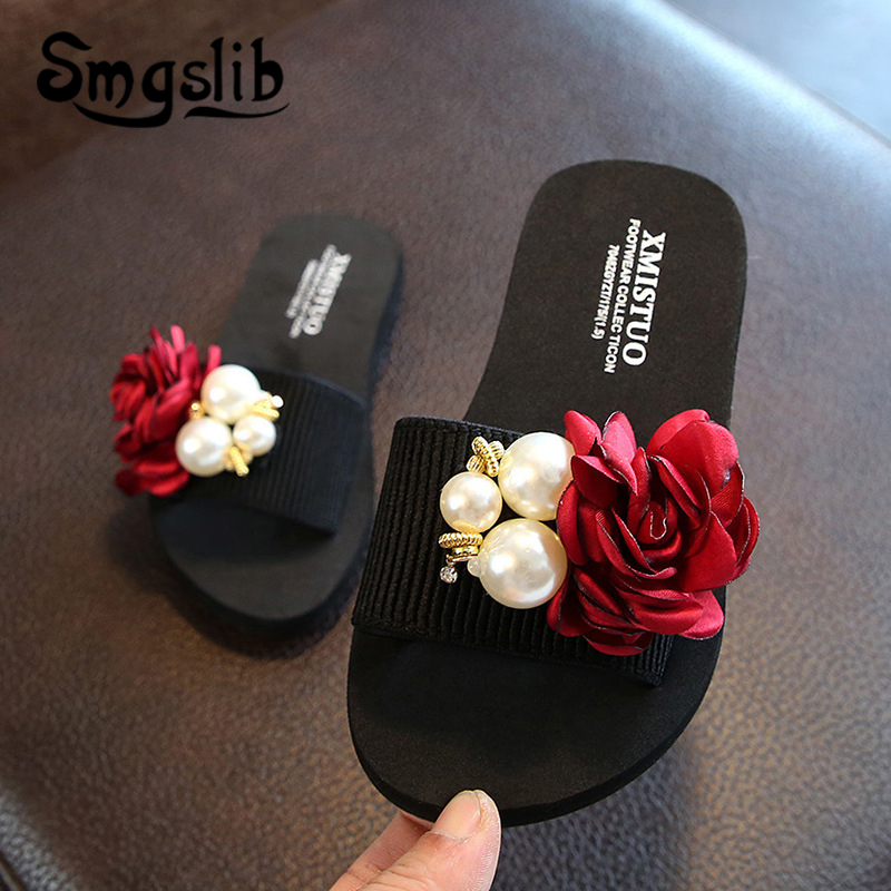 Girls Slippers kids beach fashion bowknot casual sandals 2019 summer Comfortable women Home shoes Children Flower Slippers
