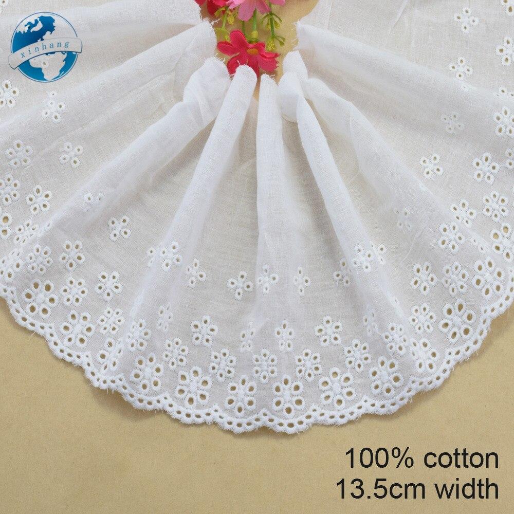 Кружевная кружевная лента 13,5 см, белая кружевная лента из 100% хлопка для рукоделия, аксессуары для шитья #3708