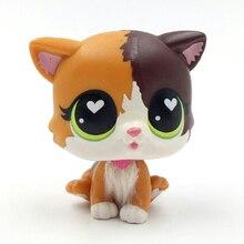 LPS 고양이 새 애완 동물 숍 장난감 서 펠리나 야옹 짧은 머리 고양이 흰색 심장 녹색 눈 진짜 애니메이션 그림 장난감 어린이위한