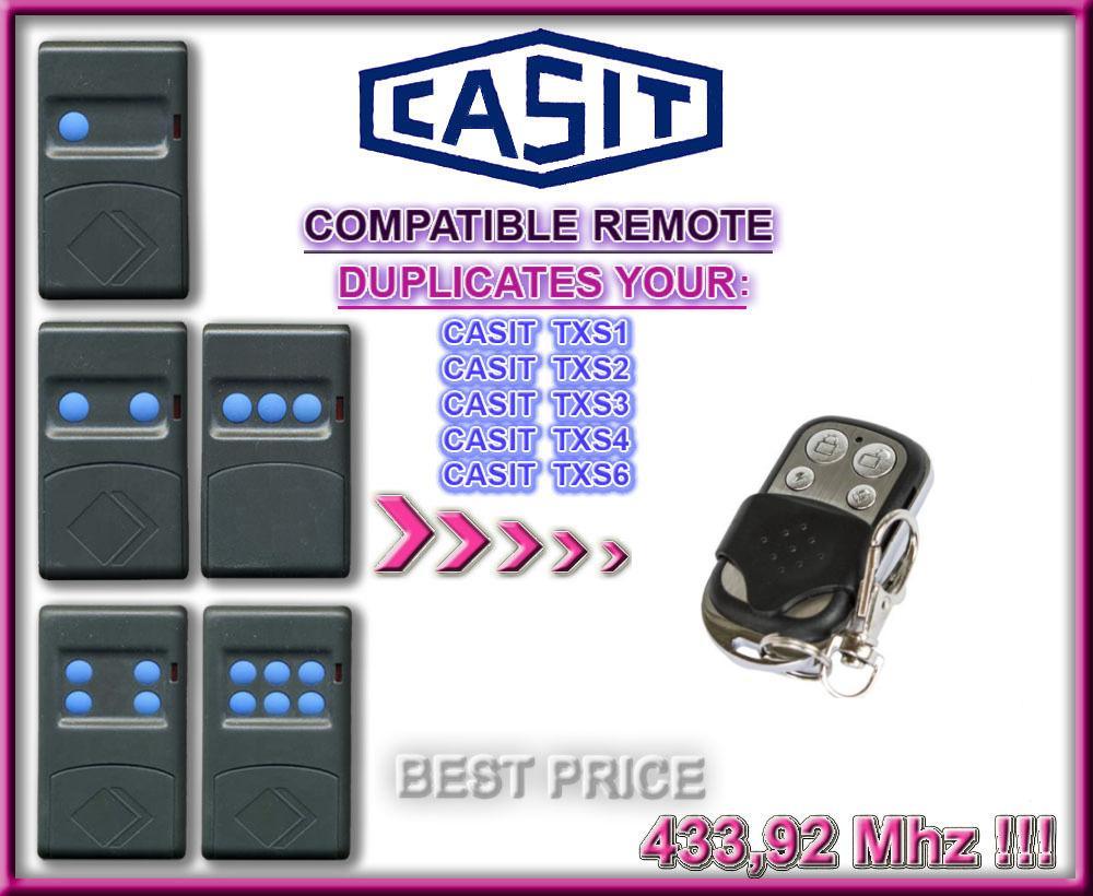 CASIT Transmitter,TXS1,TXS2, TXS3,TXS4,TXS6 Universal RF Remote Control Duplicator Suitable For Cars, Gates, Garage Door Openers