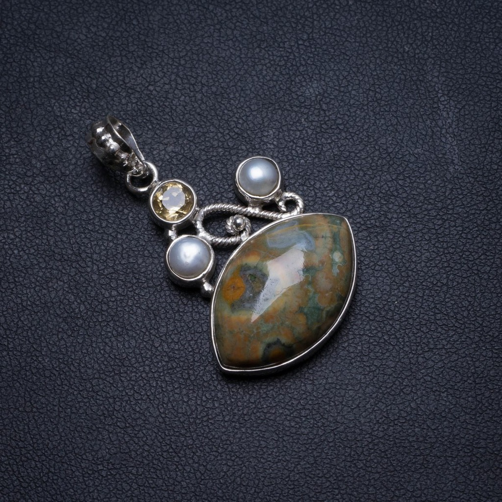 Natural Ocean Jasper,Citrine and River Pearl Handmade Unique 925 Sterling Silver Pendant 1.5 X1220Natural Ocean Jasper,Citrine and River Pearl Handmade Unique 925 Sterling Silver Pendant 1.5 X1220