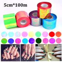 New 1roll 5cm*100m Holographic Shiny Laser Nail Transfer Foil Sticker Broken Glass DIY Nail Art Beauty Decal Stencil Decoration