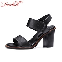 Classic Women Sandals 2018 New Summer Shoes High Quality Genuine Leather High Heel Sandals Women Fashion