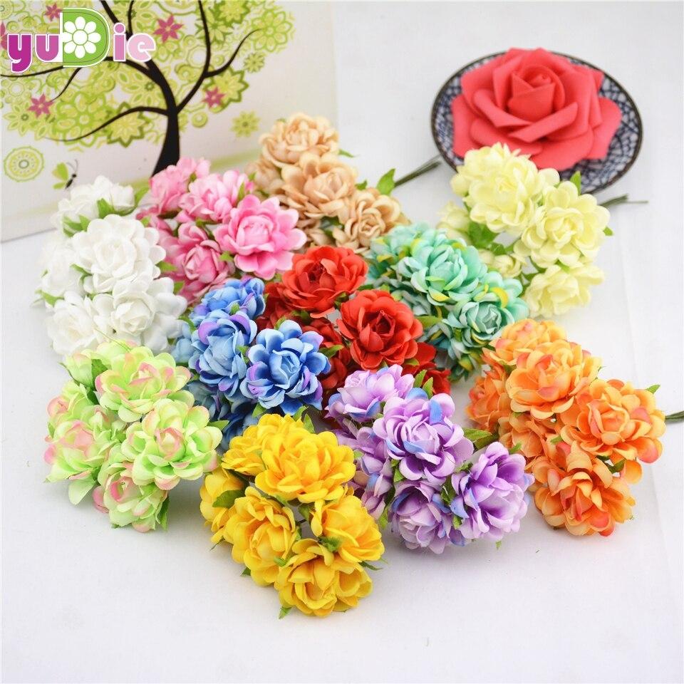 6 unids/lote Mariage de Seda Rosa Artificial Ramo de Flores Para La Boda Decorac