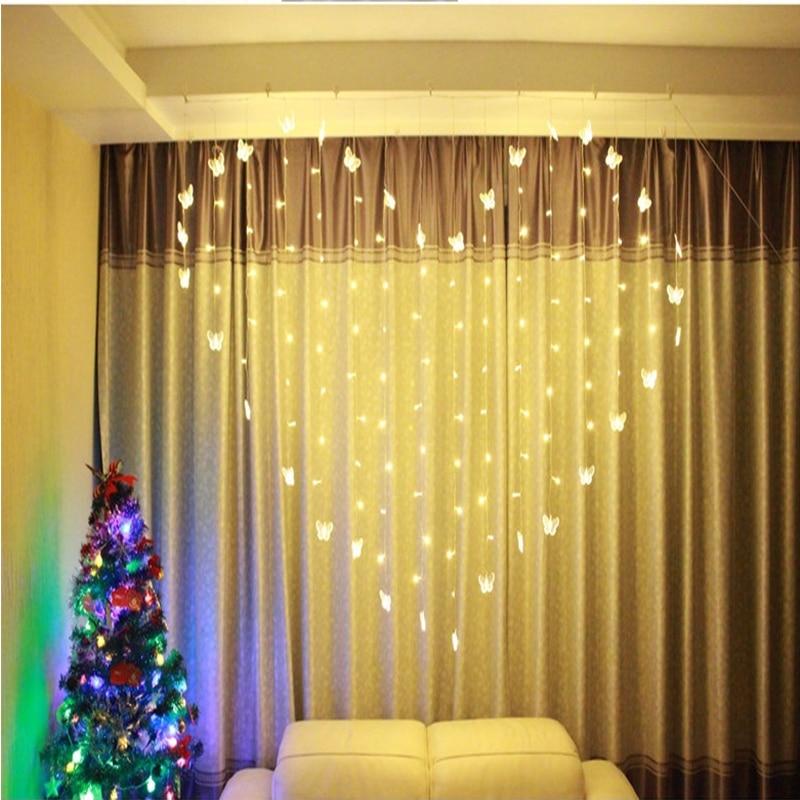2 3M * 1.5 M Levou Guirlanda De Natal Luzes Da Cortina Interior do Amor da Borboleta 220 V Luzes Cordas de Fadas Para O Feriado decoração do partido da lâmpada