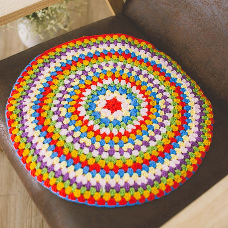 Colorful Handmade hook cotton Lace Chic round Crocheted Seat back - Home Textile