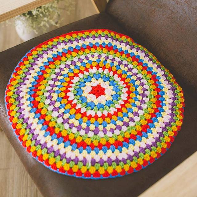 Colorful Handmade Hook Cotton Lace Chic Round Crocheted Seat Back