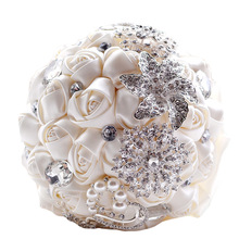 Doragrace 18CM Luxury Sparkle Wedding Bouquet Flowers Peals Crystal Rhinestone Rose Artificial