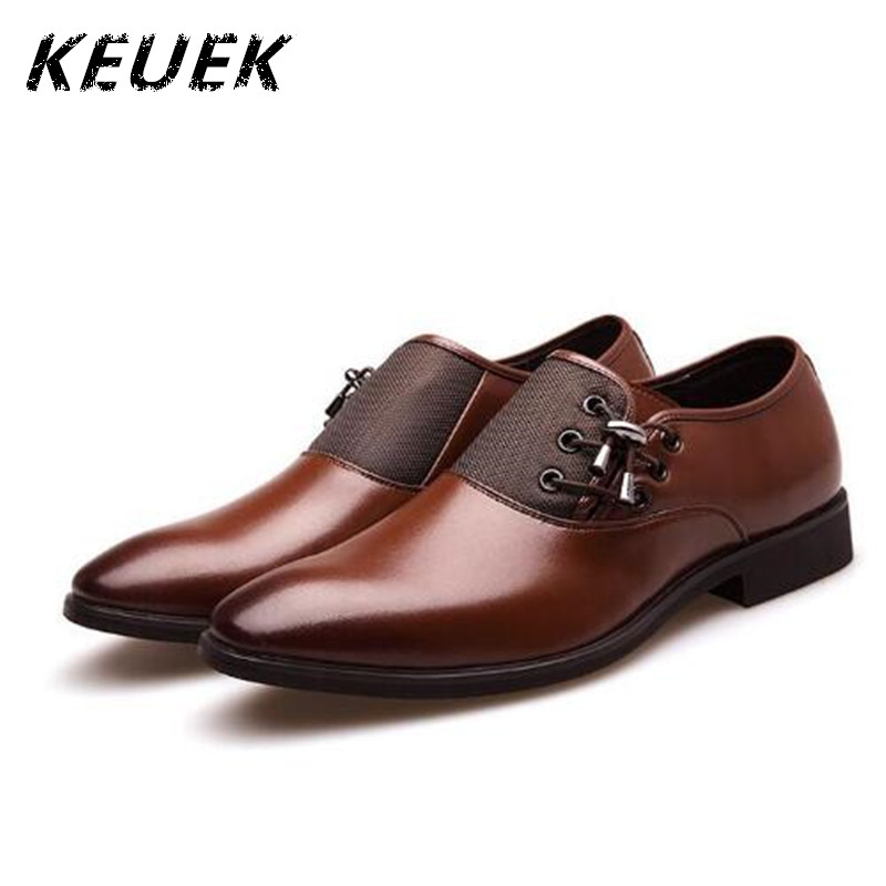 Luxury brand Male Casual leather shoes Genuine leather Breathable Business Dress shoes Pointed Toe Lace-Up Flats Oxfords 021 tba hot sale luxury brand men s office career business breathable casual winter and autumn male lace up pointed toe flats shoes