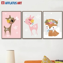 Cartoon Deer Fox Flower Wall Art Canvas Painting Nordic Posters And Prints Pop Animals Pictures Kids Room Home Decor