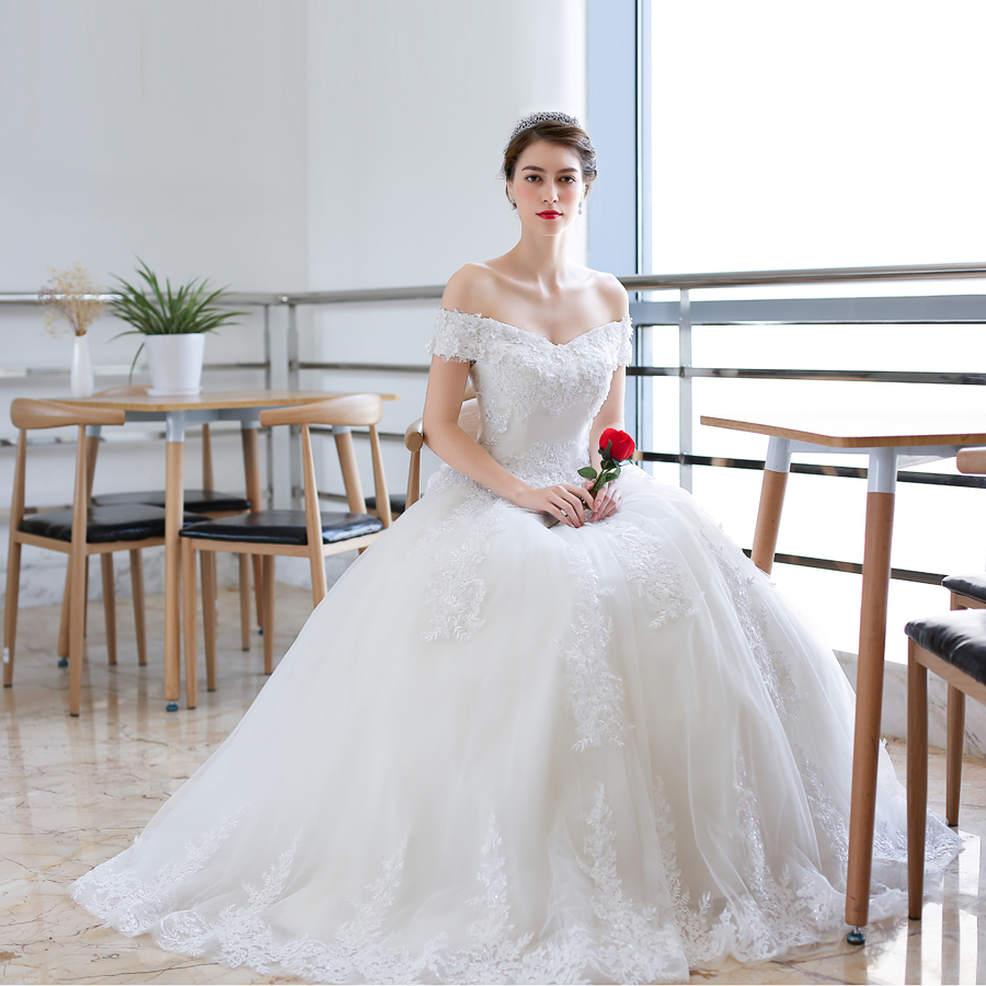 Luxury Full Lace Embroidery Appliques Wedding Dress Cap Sleeves Boat Neck Ball Gown 2018 Wedding Dresses New-in Wedding Dresses from Weddings & Events    3