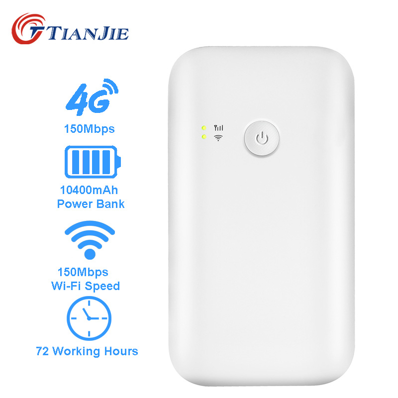TIANJIE portable wifi router 3g 4g lte router 10400mah battery power bank 4g router wifi hotspot unlocked with sim card slotTIANJIE portable wifi router 3g 4g lte router 10400mah battery power bank 4g router wifi hotspot unlocked with sim card slot