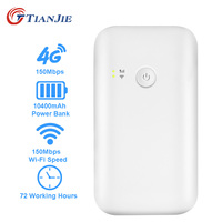 TIANJIE portable wifi router 3g 4g lte router 10400mah battery power bank 4g router wifi hotspot unlocked with sim card slot