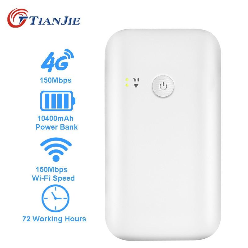 TIANJIE routeur wifi portable 3g 4g lte routeur 10400 mah batterie batterie externe 4g routeur wifi hotspot débloqué avec fente pour carte sim