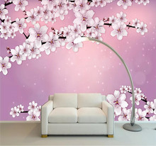 Custom wallpaper creative hand-painted romantic cherry blossom wall decoration waterproof material