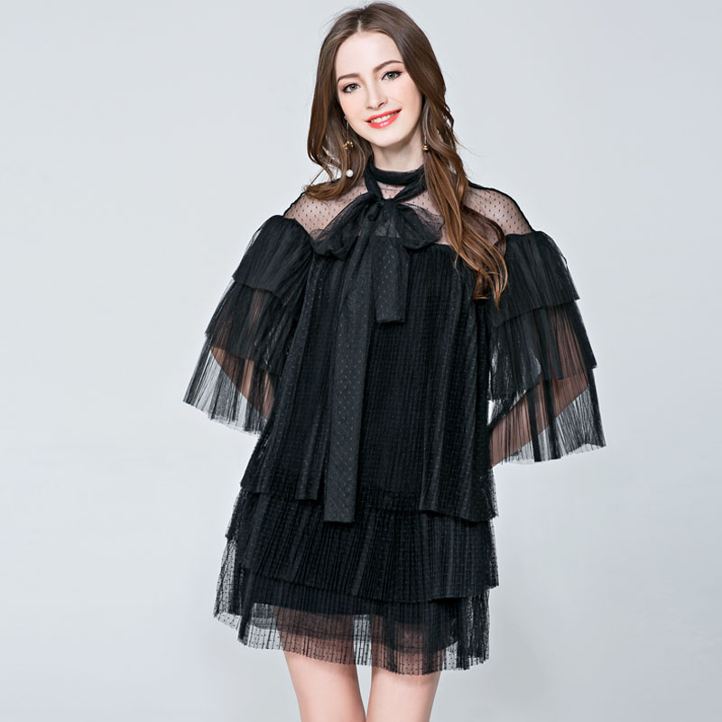 New Brand Runway Dress Bow Flare Sleeve Lace Layered Mesh Pleated Women S Perspective Cascading Gauze