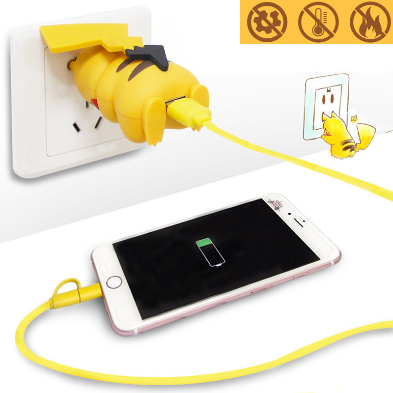 Detective Pikachuc Charger Cable Wire Cosplay Props Power Supply USB Charger Phone Fast Charger Unisex Pokemon Accessories