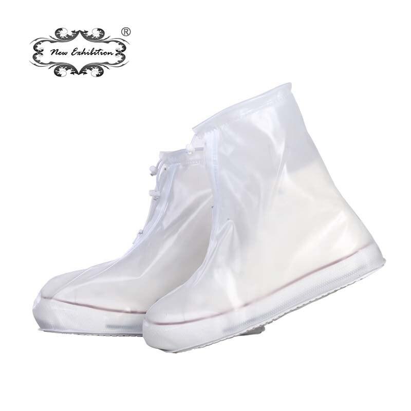 Nueva exposición hombres mujeres impermeable reutilizable impermeable lluvia cubre grueso wearable fondo plano talones tobillo botas cubiertas N