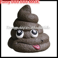 Top quality 100% Latex Halloween Party Cosplay Funny Fake Poop With Face Halloween mask DOO DOO MASK Clown Face Head Mask Fun