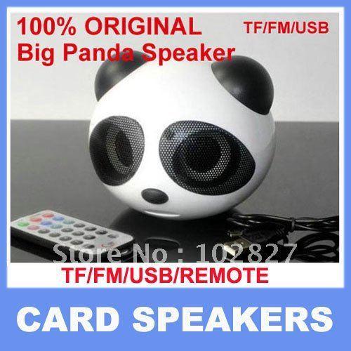 10 PCS/LOT 100% Original Big Panda Speakers Portable Mini Speakers Support  SD Card+USB+FM+Remote Controller! Free Ship EMS DHL!