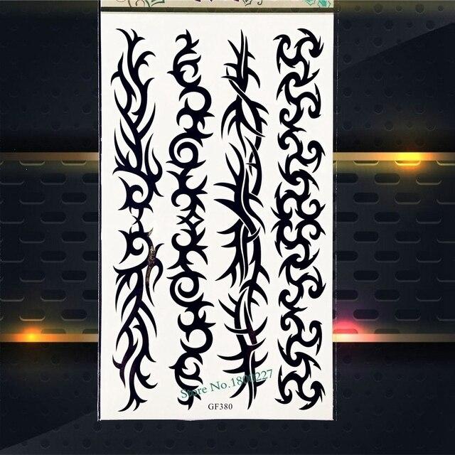 Waterproof Henna Temporary Tattoo Stickers Women Men Body Art Arm Tattoo Sleeves PGF380 Black Tattoo Sticker Bracelet Chains