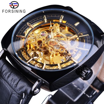 Forsining Mens Golden Gear Movement Black Unique Square Dial Mens Mechanical Skeleton Wrist Watches Top Brand Luxury Male Clock forsining 3d skeleton royal retro design blue steel mesh band golden movement men mechanical male wrist watches top brand luxury