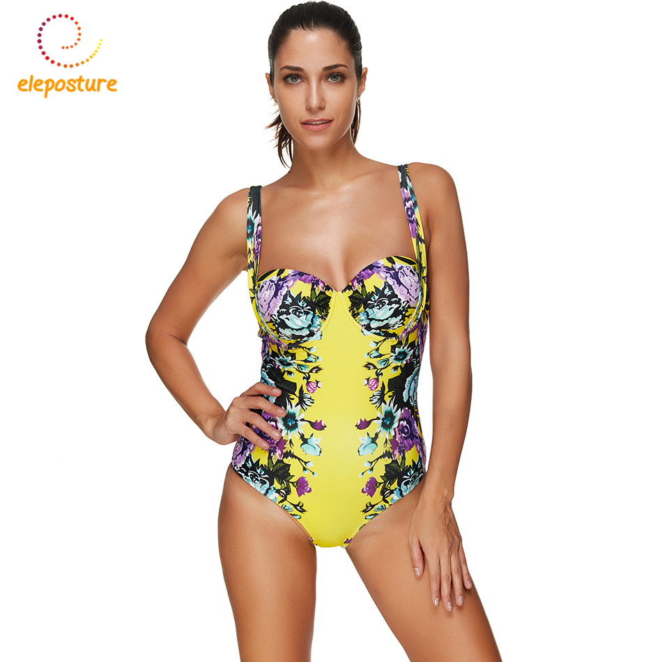 цены 2017 One Piece Swimsuit Plus Size Swimwear Women Push Up Monokini Bathing Suit Retro Floral Beach Wear Maillot De Bain Femme 3XL