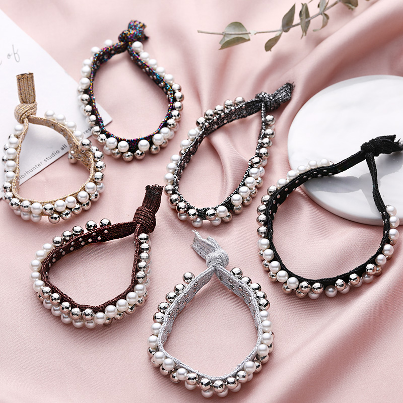 New Women Elegant Pearls Knot Elastic Hair Bands Ponytail Holder Rubber Bands Scrunchie Hair Ropes Headband Hair Accessories