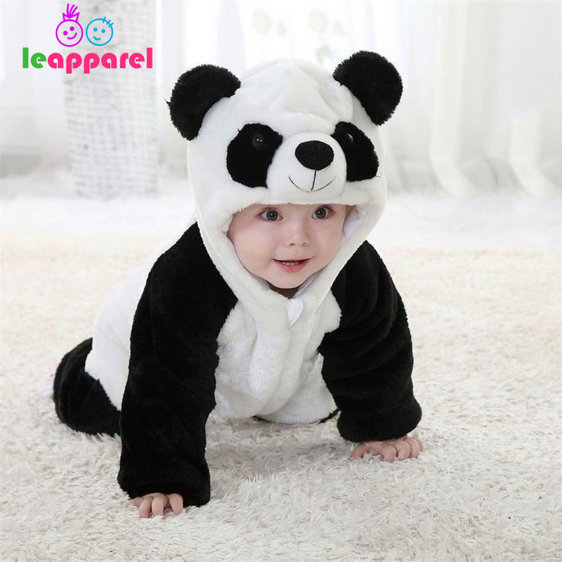 Leapparel Funny Kids Clothes Newborn Panda Costume Infant Baby Boy Girl 3D Animal Rompers Winter Warm Jumpsuit Hooded Pajamas baby products bebe girl bebe boy newborn clothes baby costume thick warm infant baby rompers kids winter clothes jumpsuit hooded