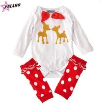 Марка Baby Girl boy Одежда Устанавливает Рождественский набор оленей печати Ползунки + покрытие для ног 2 шт. Наборы ребенок большой бантом костюм