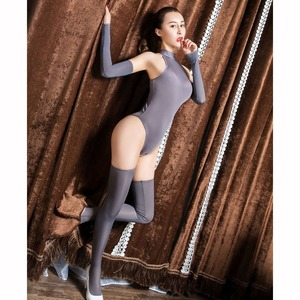 Image 2 - 3pcs/set Ice Silk Glossy Crotchless Bodystocking Sexy Hot Erotic Open Crotch Bodysuit Lingerie Body Suit Babydoll Exotic Teddies