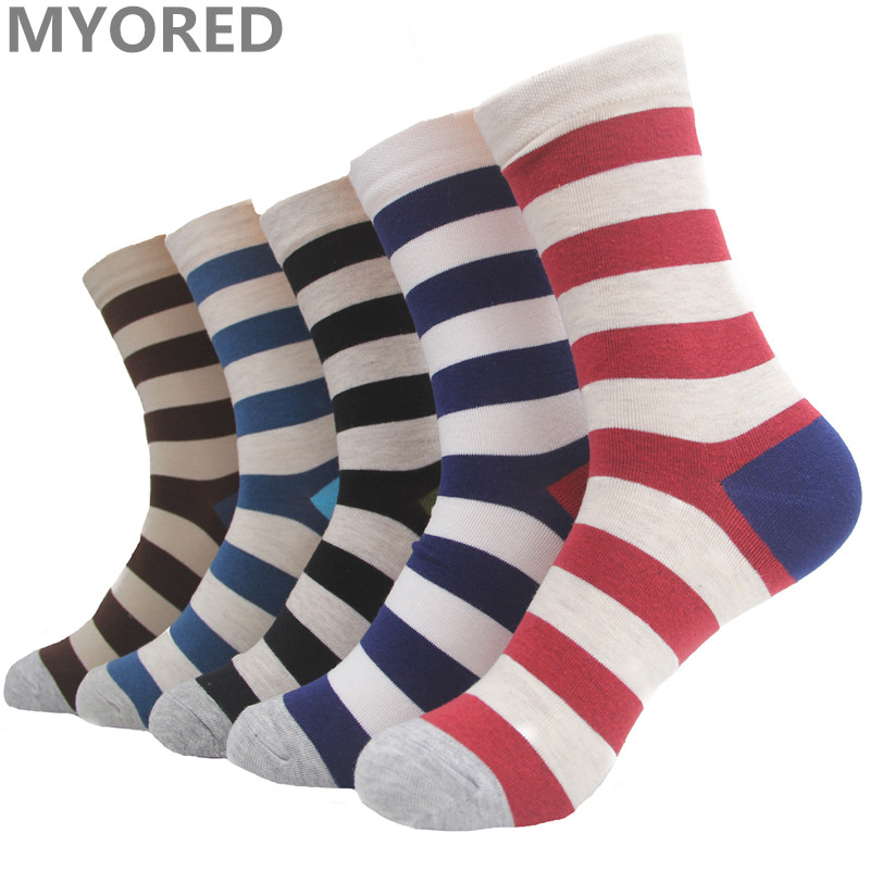 MYORED 5pairs=1 Lot mix color mens socks stripes navy style combed cotton male business socken short tube Calcetines