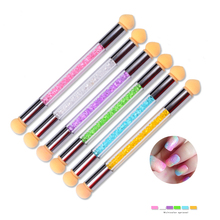 1 Pcs Hot UV Gel Painting Nail Gradient Brush Pen Double-ended Acrylic Nail Art Sponge Glitter Powder Picking Manicure Tool