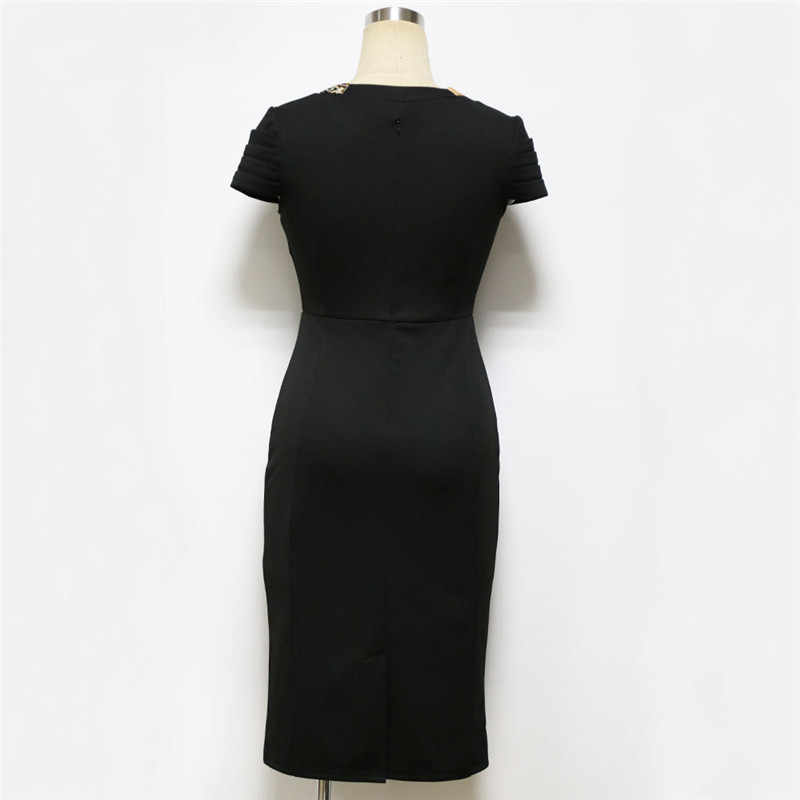 b2bb5ff8e495 ... Summer Office Midi Pencil Dress Women Petal Sleeve Bow Tie up Plain  Black Bodycon Dress Elegant ...