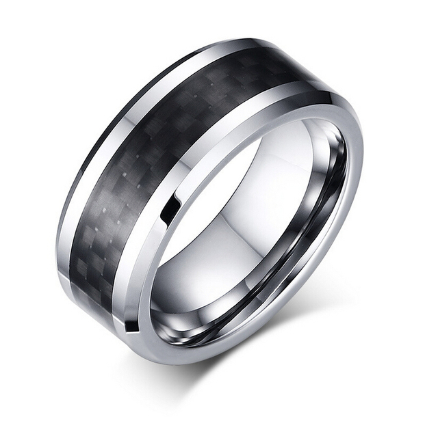 Free Engraving Tungsten Steel Wedding Band Ring With Black Carbon Fiber Design