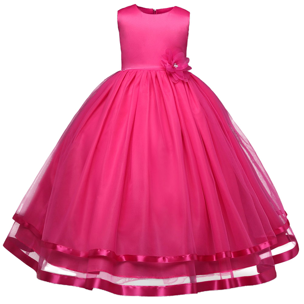 Girl Flower Dress Kids Party Wear Sleeveless Clothing Girl Wedding Dresses Children s Ball Prom