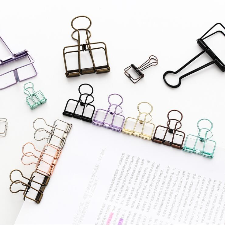 1PC Creative Korea Paper Clip Metal Bookmark File Binder Clip For Bullet  Journal Photo Message Ticket Document Clips Stationery(China)