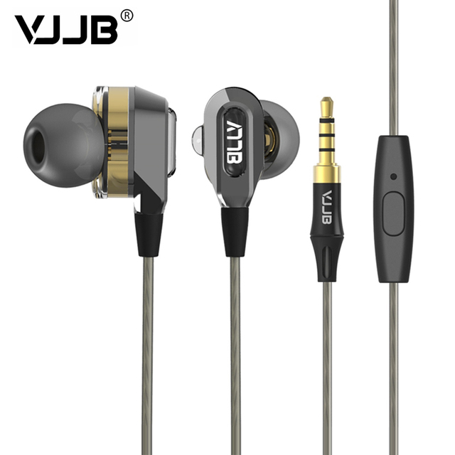 100%オリジナルvjjb v1 v1sダブルユニットドライブで耳金属イヤホンハイファイ低音サブウーファーイヤホン付きマイクオプション送料無料