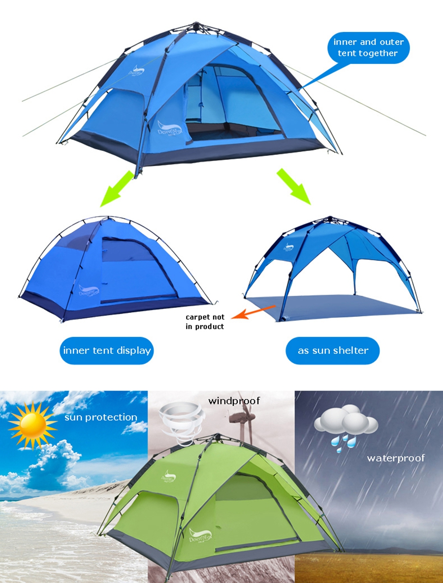 Desert&Fox Automatic Camping Tent, 3-4 Person Family Tent Double Layer Instant Setup Protable Backpacking Tent for Hiking Travel 4