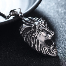 316L Stainless Steel Lion Head Pendant Necklace Punk Rock Men Jewelry Accessories 24inch Chain chimdou 2018 new 55cm 13mm 10mm 7mm 316l stainless steel necklace men jewelry cuban chain party gift rock punk style an349