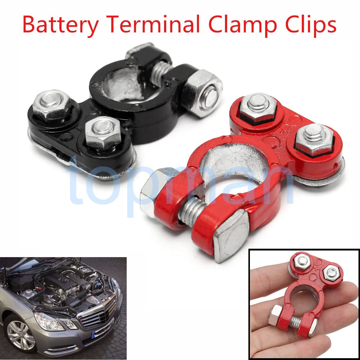 1 pair aluminum positive nagative car battery terminal clamp clips connector 53x37x17mm china