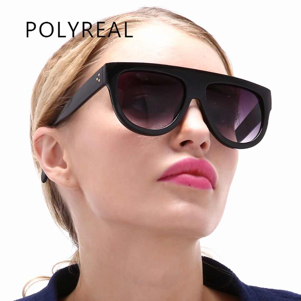 7f2d12f5b4 POLYREAL Fashion Vintage Square Sunglasses Women Brand Designer Sun Glasses  Female Retro Big Mirror Ladies Driving