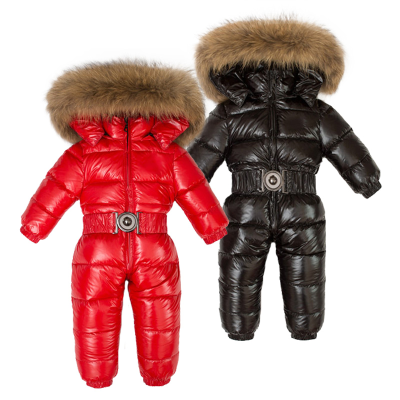 Winter Children 90 White Duck Down Rompers Boys Big Natural Fur With Hooded Clothes Girls Thicken