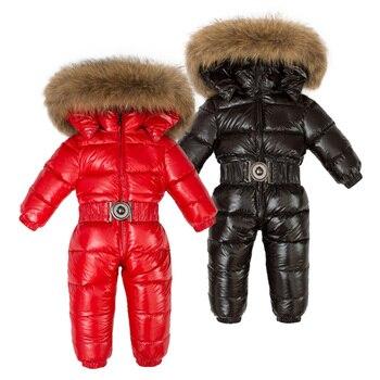 Dei Bambini di inverno 90% Piume D'anatra Bianca Imbottiture Body e Pagliaccetti Ragazzi Grande Pelliccia Naturale Con Cappuccio Vestiti Delle Ragazze Ispessisce Tuta 2-6y Bambini Scarponi Da Neve vestito