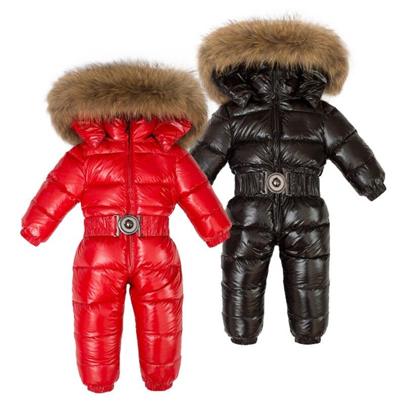 Hiver enfants 90% blanc canard vers le bas barboteuses garçons grande fourrure naturelle avec des vêtements à capuche filles épaissir combinaison 2-6y enfants combinaison de neige