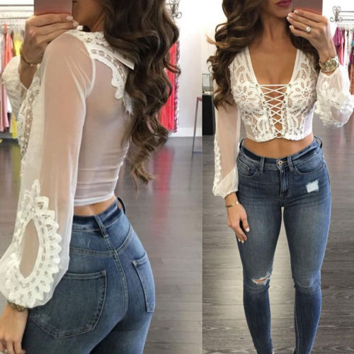 Sexy Womens Mesh Crochet Crop Tops   Blouse   Jumper Ladies Summer Lace Up Fishnet See-through Long Sleeve Club   Blouses     Shirts