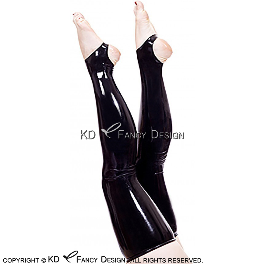 Black Sexy Long Rubber Latex Thigh High Stockings With Open Bottom WZ-0014