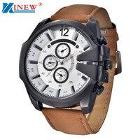 High Quality XINEW Brand Men Watch Leather Vintage Mens Analog Steel Case Date Sport Quartz Watch